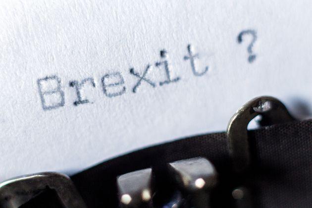 Word Brexit typed on typewriter on white
