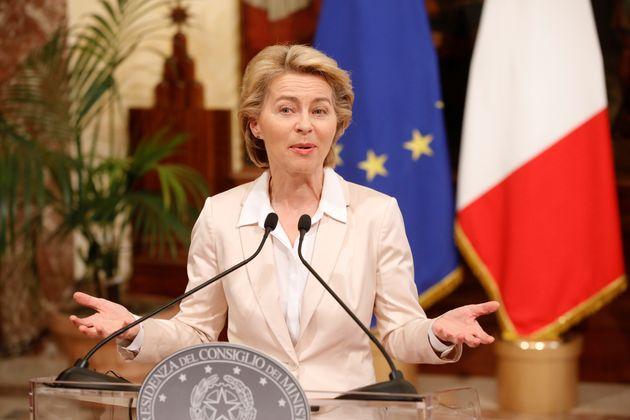 European Commission President Ursula von der Leyen speaks during a meeting with Italian Prime Minister...
