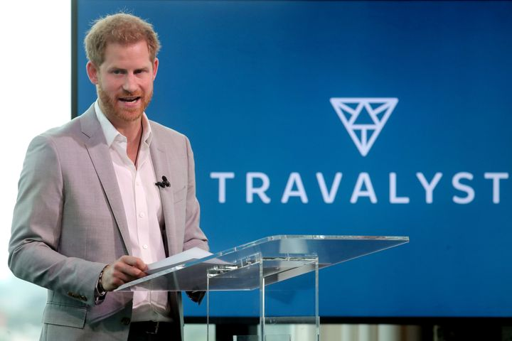 Harry announces a partnership between Booking.com, SkyScanner, CTrip, TripAdvisor and Visa called 'Travalyst' on Sept. 3 in A