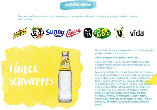 Página web de Schweppes