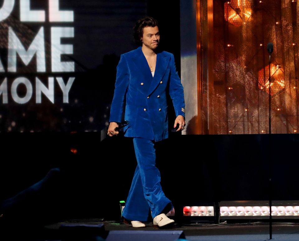 Harry Styles speaks onstage at the 2019 Rock & Roll Hall Of Fame Induction Ceremony - Show at Barclays Center on March 29
