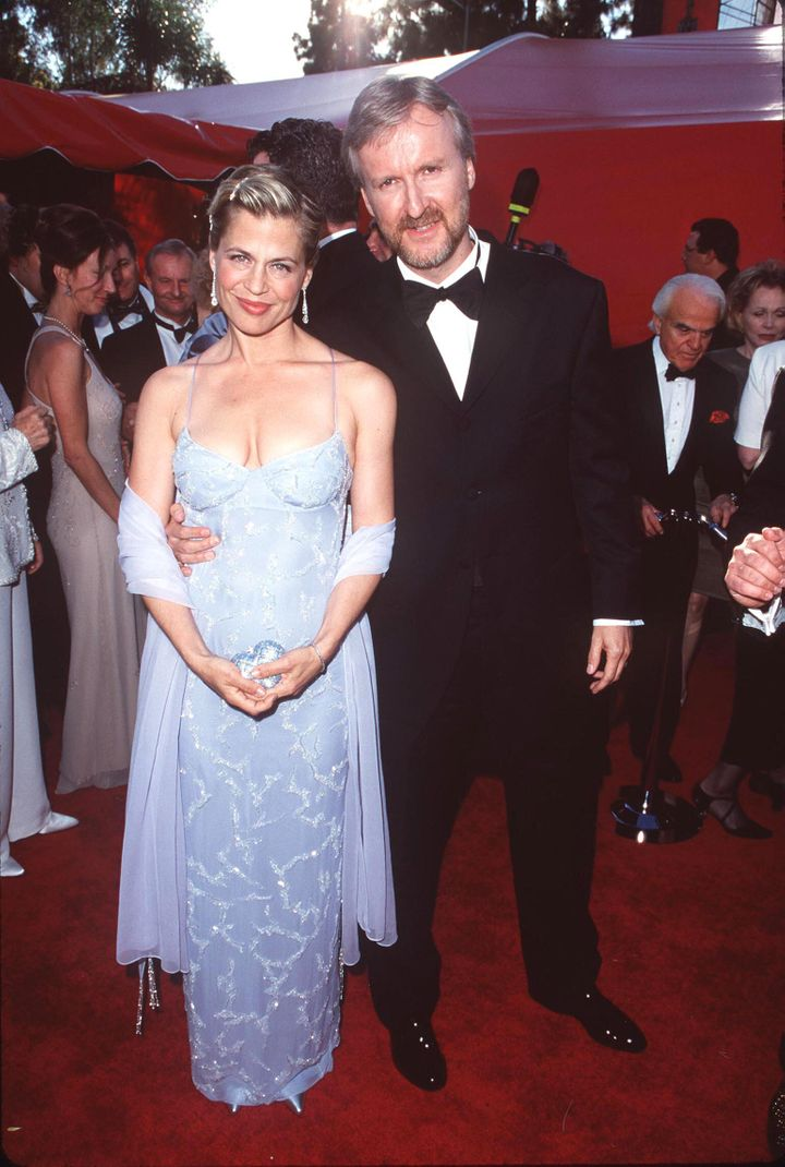 James Cameron and Linda Hamilton attend The 70th Annual Academy Awards together.