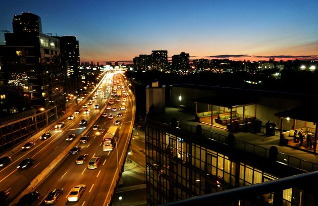 Condo buildings line both sides of the Gardiner Expressway in Toronto, Aug. 31,
