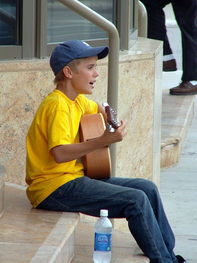 A 13-year-old Justin Bieber busking on the street in Stratford, Ont. on Aug. 20, 2007. His hometown now...