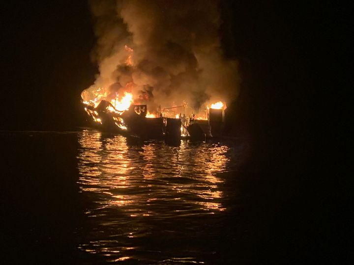 The 75-foot Conception, based in Santa Barbara Harbor, burns after catching fire early Sept. 2, 2019, while anchored off Sant