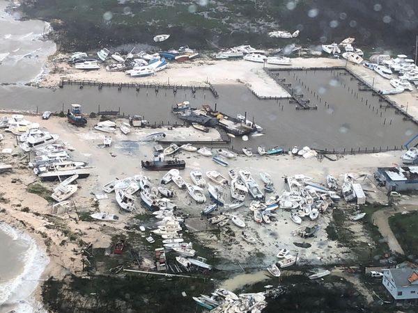 A U.S. Coast Guard image shows damage to a marina in the Bahamas on Monday.