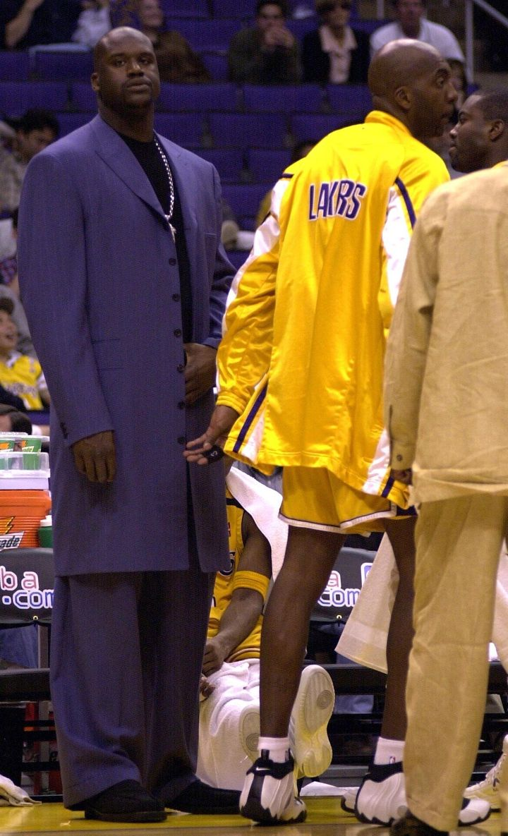 O'Neal during an April 8, 2000, game between the Los Angeles Lakers and the San Antonio Spurs at the Staples Center in Los An