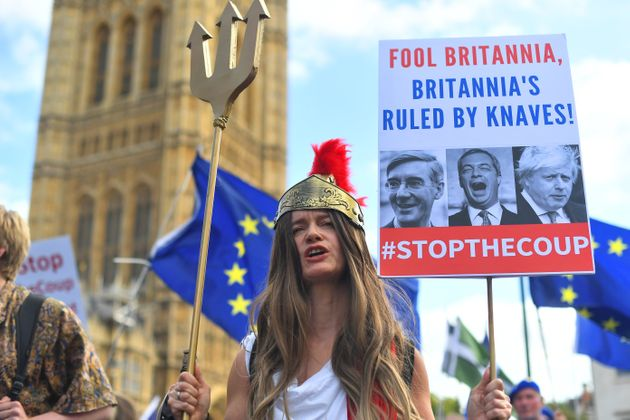 Protesters Gather Outside Westminster As Emergency Brexit Debate