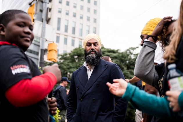 NDP Leader Jagmeet Singh speaks to supporters before making an announcement in Toronto on Sept. 2,
