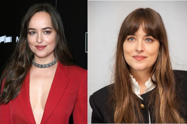 Actor Dakota Johnson's entire look changes with bangs.