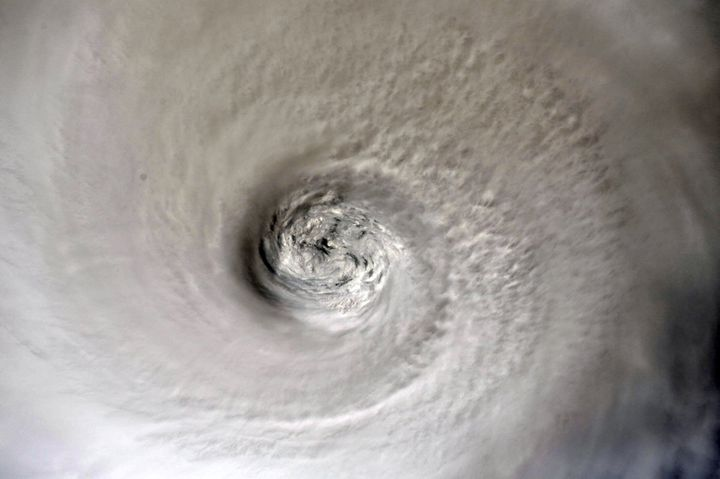 The eye of Hurricane Dorian is shown from the International Space Station orbiting more than 200 miles above the earth, as it