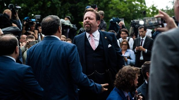 WASHINGTON, DC - JULY 11 : Former Deputy Assistant to the President and host of SALEM Radios #AMERICAFIRST Sebastian Gorka argues with Playboy White House reporter Brian Karem after President Donald J. Trump delivered remarks on citizenship and the census in the rose Garden at the White House on Thursday, July 11th, 2019 in Washington, DC. (Photo by Jabin Botsford/The Washington Post via Getty Images)