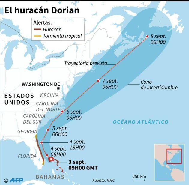 Trayectoria prevista del huracán