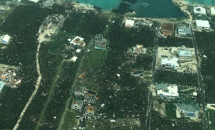 ABACO ISLAND, BAHAMAS - SEPTEMBER 3: In this handout aerial photo provided by the HeadKnowles Foundation, damage is seen from