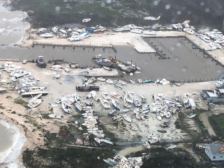 An aerial photo shows the aftermath of the Hurricane Dorian damage over an unspecified location in the Bahamas, in this Septe