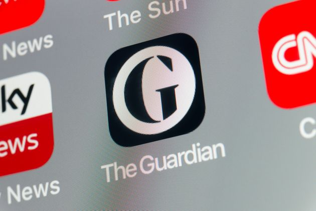 London, UK - August 02, 2018: The buttons of The Guardian, Sky News, CNN, BBC News and The Sun newspaper...