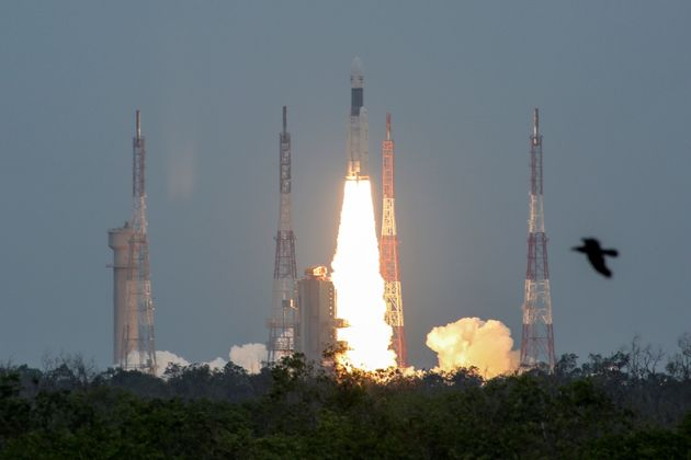 India's Geosynchronous Satellite Launch Vehicle Mk III-M1 blasts off carrying Chandrayaan-2, from the...