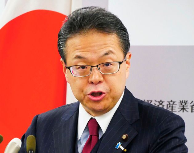 In this Tuesday, Aug. 27, 2019, photo, Japan's Trade Minister Hiroshige Seko speaks during a press...