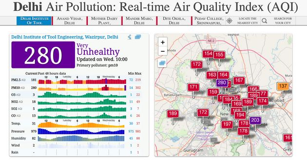 The air quality index for Delhi on Wednesday