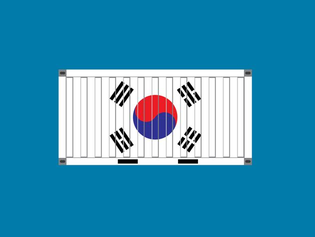 Container with South Korea flag,business trade concept,vector