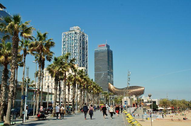 Paseo marítimo de la Barceloneta y Puerto Olímpico, en