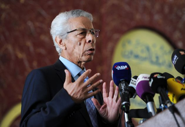 Former Algerian Prime minister and presidential candidate in 1999, Mouloud Hamrouche speaks during a...