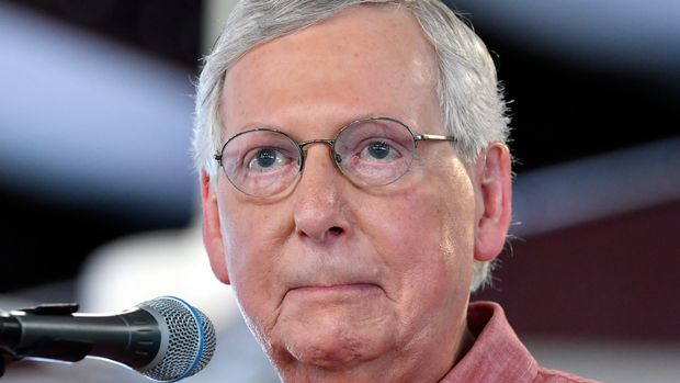 Senate Majority Leader Mitch McConnell, R-Ky., addresses the audience gathered at the Fancy Farm Picnic in Fancy Farm, Ky., Saturday, Aug. 3, 2019. (AP Photo/Timothy D. Easley)