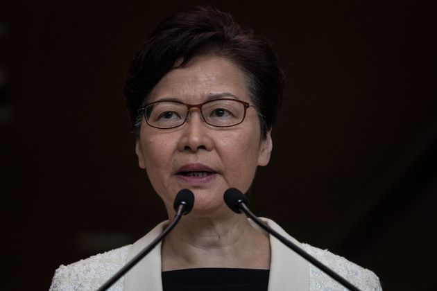 Hong Kong Chief Executive Carrie Lam speaks to the media during a press conference at the Central Government...