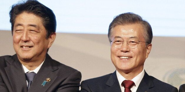 MANILA, PHILIPPINES - NOVEMBER 14, 2017: Japan's Prime Minister Shinzo Abe, South Korea's President Moon...