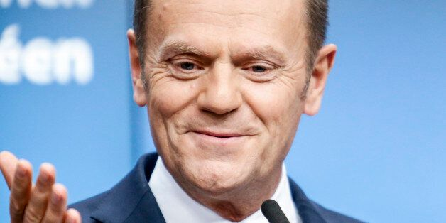 European Council President Donald Tusk on final press conference in Brussels, Belgium at the European...
