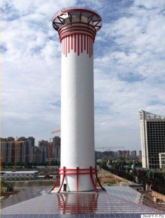 중국 시안에 100m 높이의 초대형 공기청정기가
