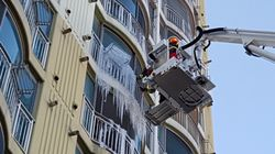 18층서 떨어진 고드름에 행인이 부상을