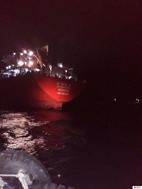 '북한 연계 의심' 파나마 선박이 평택항에서 조사를 받고