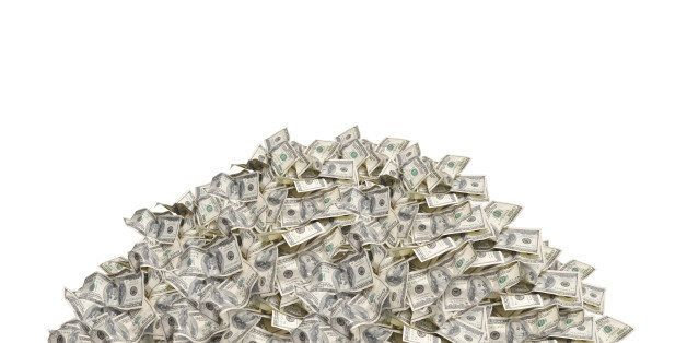 Pile with american hundred dollar bills isolated on white