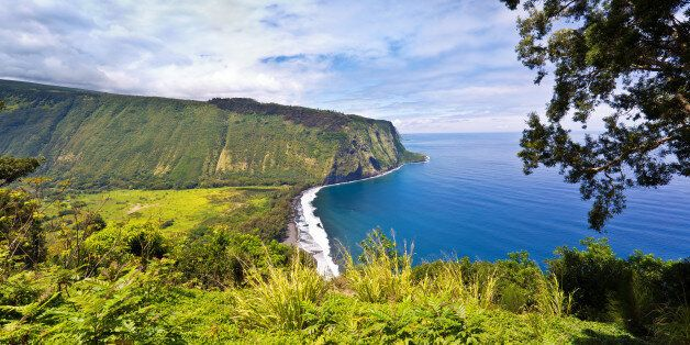 The scenic Waipi'o Valley from the Waipi'o Lookout on the north shore of the Big Island in Hawaii. A...