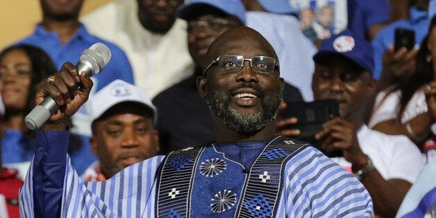 George Weah, former soccer player and presidential candidate of Congress for Democratic Change (CDC),...