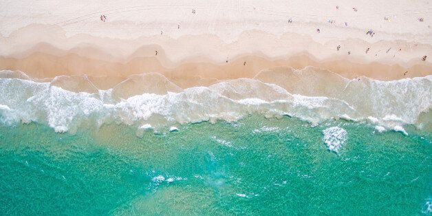 The beach from above, a unique perspective from the air looking down over the