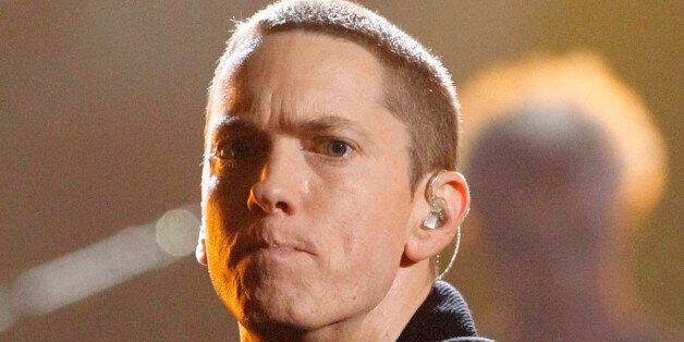 Rapper Eminem performs 'Not Afraid' at the 2010 BET Awards in Los Angeles June 27, 2010. REUTERS/Mario...