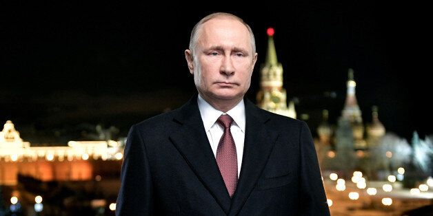 Russian President Vladimir Putin attends his New Year address to Russians in central Moscow on December...