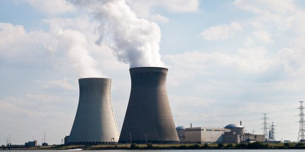 Cooling towers of nuclear power plant of Doel near Antwerp,