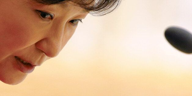 FILE PHOTO: South Korea's President Park Geun-Hye talks to her staff during the East Asia Summit (EAS)...