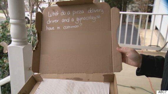 고객 요청으로 피자 박스에 농담적은 피자헛 배달원이