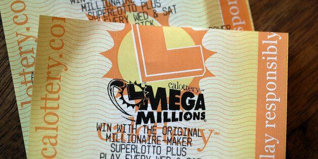 SAN ANSELMO, CA - JANUARY 03: Powerball and Mega Millions lottery tickets are displayed on January 3,...
