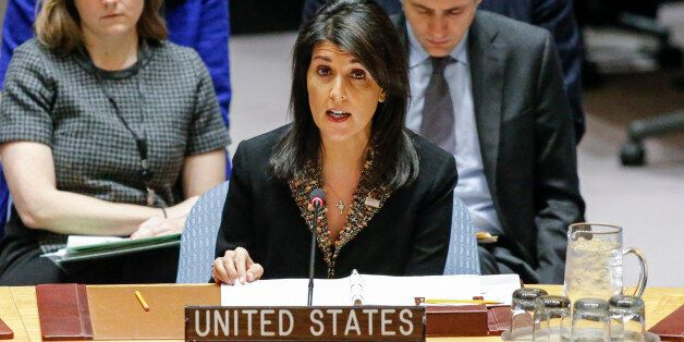 US Ambassador to the UN Nikki Haley speaks during a UN Security Council meeting over the situation in...