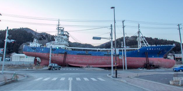 Kesenuma, Japan - February 03, 2013: This picture was taken 1 year and 11 moths after 2011 Tohoku earthquake...