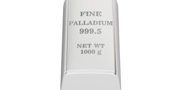 palladium ingot, 3D rendering isolated on white