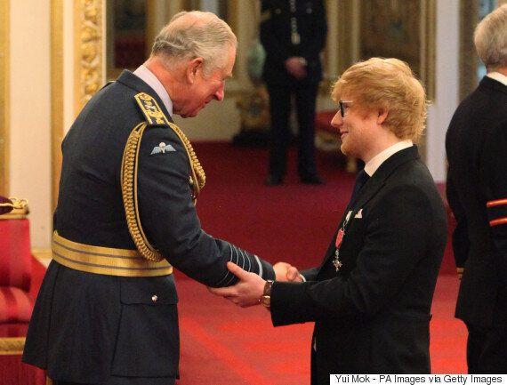 에드 시런이 영국 왕실에서 훈장을