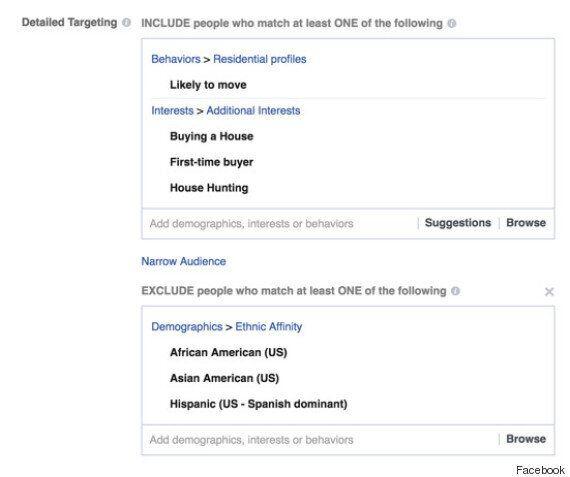 페이스북엔 유색인종을 제외하는 기능이