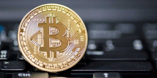 ChonBuri ,thailand - jul 17,2017: Golden Bitcoin money on
