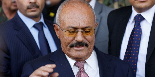 Yemen's former President Ali Abdullah Saleh attends a rally held to mark the 35th anniversary of the...